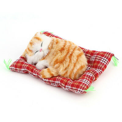 New Lovely Simulation Animal Doll Plush Sleeping Cats with Sound Kids Toy AO