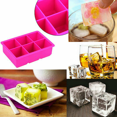 6-Cavity Large Silicone Drink Ice Cube Pudding Jelly Soap Mold Mould Tray AO