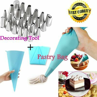 24 Pcs Icing Piping Nozzles Pastry Tips Cake Sugarcraft Decorating Tool /Bag AO