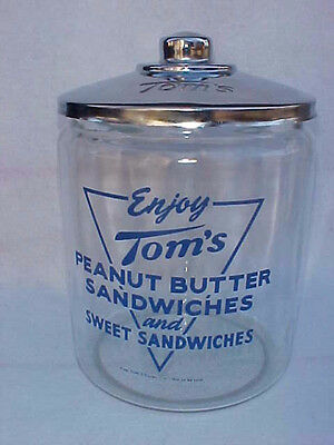 Vintage Lg. Tom's Sandwich / Peanut Jar w/ Chrome Tin Lid, Lance Store ( Mint )
