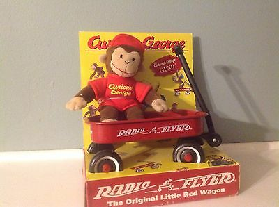 Vintage 1998-Curious George By Gund, With Rasio Flyer Wagon With Box