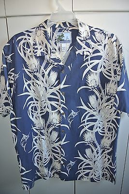 AFTCO-Bluewater  XL  Gamefish & Protea Vertical Band Print on Navy Blue/NWOT