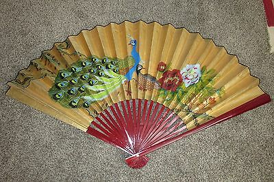 """DECORATIVE GOLDEN LACQUER PEACOCKS WALL FAN HANDCRAFTED 35"""" x 62"""" MADE IN CHINA"""
