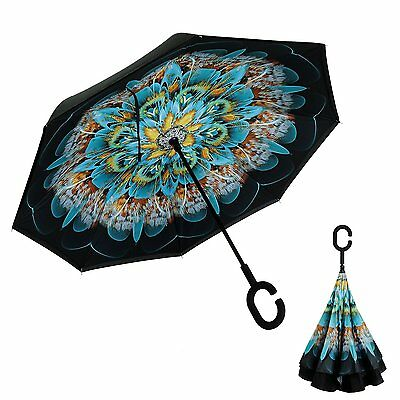 Inverted Umbrella, Alink Reverse Folding Double Layer Inside Out Outdoor Rain -