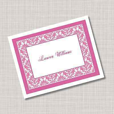 12 Custom Personalized Pink Damask Note Cards