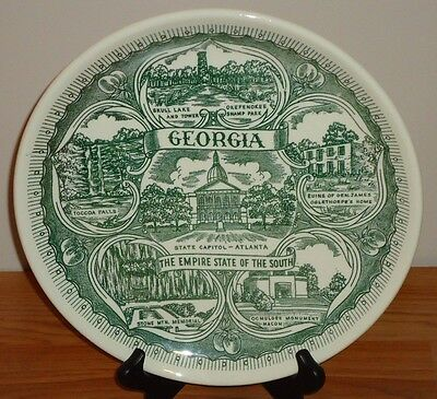 """GEORGIA The Empire State of the South souvenir collector's plate 10"""" green white"""