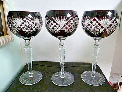 Bohemian Burgundy Cut To Clear Elegant Long Stemmed Goblets- Have Three