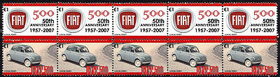 FIAT 50th ANNIVERSARY STRIP OF 10 STAMPS, FIAT 500 #5