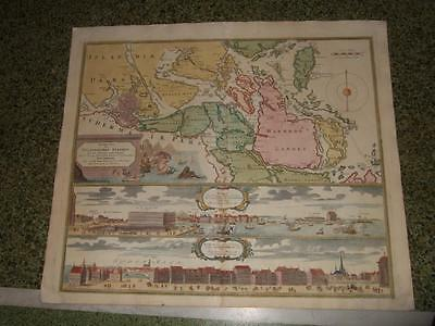 1700s,R.HOMANN,XL-2 PANORAMIC VIEWS OF STOCKHOLM,SWEDEN,SVERIGE,MAP OF UPPLAND