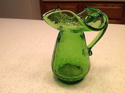 "Vintage Green Crackle Glass Pitcher 5"" tall Very Nice condition"