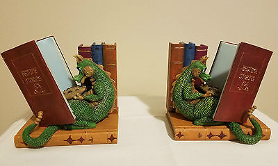 """*NEW* Dragon & Books Theme 7"""" Bookends Set of 2 in Box"""