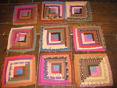 Wool Challis Early Antique c. 1870's Log Cabin CUTTER Quilt Blocks