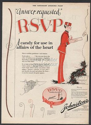 1923 Johnston's Chocolate Affairs of the Heart Candy Box Milwaukee Wisconsin Ad