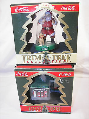 New Old Stock Coca Cola Trim A Tree ornaments Santa w/ Dog & 1930's Gas Station