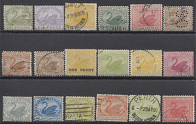 WESTERN AUSTRALIA - selection of 18x mostly used Swans with values to 1/-