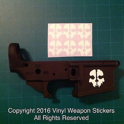 CALL OF DUTY GHOSTS SKULL  AR 15 Receiver Sticker 6 Pack, M4, Brand New, WHITE!