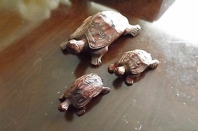 Handmade, Wooden Turtle Collection of 3