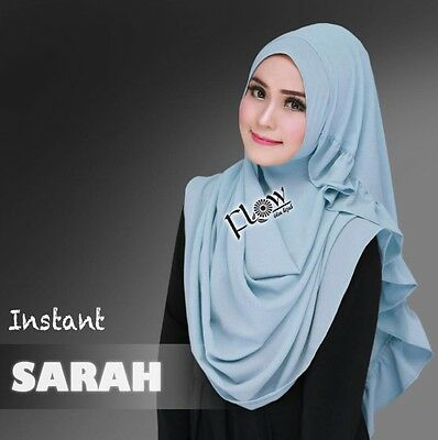 Soft Blue Sarah Instant Shawl Khimar Amira One Piece Slip On Hijab Scarf Abaya