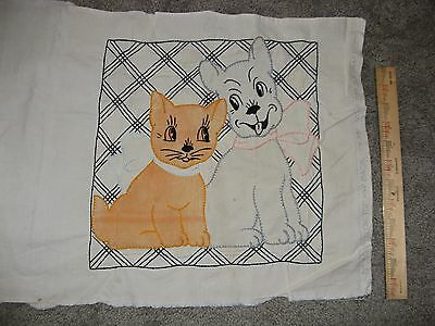 VOGUE Needlecraft Adorable VTG PillowCover Kitten & Puppy Embroidered Unfinished