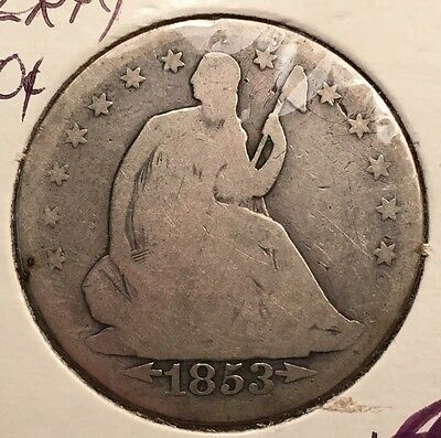 1853 50C Arrows and Rays Liberty Seated Half Dollar