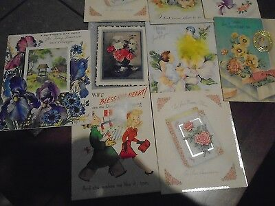 Vintage Greeting Cards (9) 1940's & 50's  With Embellishments