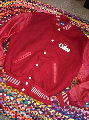 RARE Vintage Mens Embroidered COCA COLA JACKET Red Sz XL Letterman Wool Leather