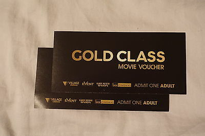 2 X Adult Gold Class Movie tickets vouchers - Expires Aug 2017. RRP $80.00.