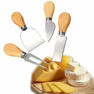 4Pcs Stainless Steel Oak Wood Handle Cheese Butter Blade Fork Set Kitchenware