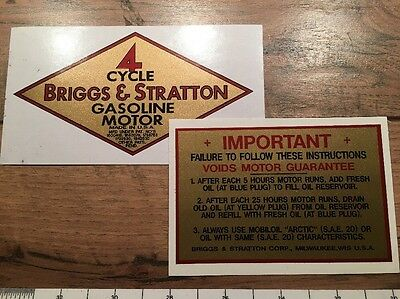 Briggs & Stratton Early Gold Decals 1932-33 M, Q, R, FJ-1, W & Z Set of 2
