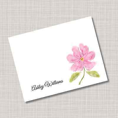 12 Custom Personalized Pink Flower Note Cards