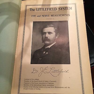 "Book ""the Littlefield System"" Eye And Nerve Measurements ""1905"""