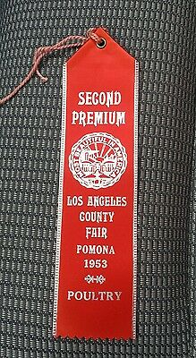 1953 Los Angeles County Fair Red Ribbon Premium Poultry Award