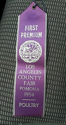 1954 Los Angeles County Fair Purple Ribbon First Premium Poultry Award