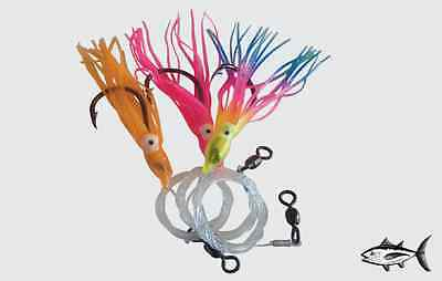 (x3 Pack) Single Snelled Fishing Rigs - size 8 - SNAPPER JEWFISH GUMMY SHARK