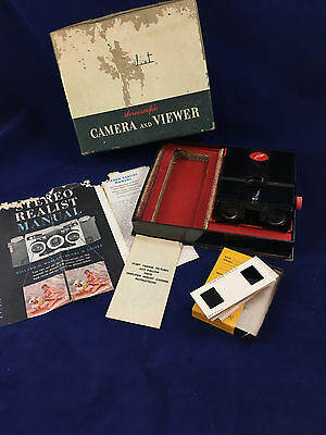Realist Stereoscopic Viewer Model ST 61, original box, slides, & camera manual