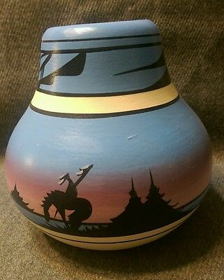 Hand painted navajo southwest style pottery vessel