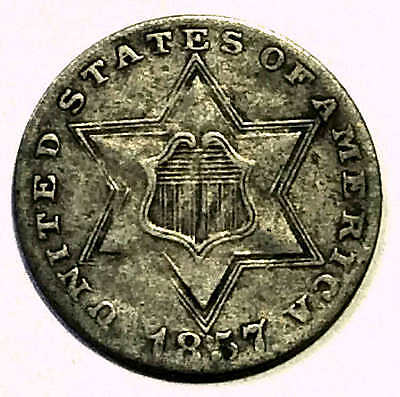 1857 Three Cent Silver Sharp Pretty Coin FREE SHIPPING