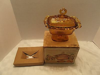 Vintage Oblong Candy Box And Cover, 1471 Amber, Indiana Glass Co, Original Box