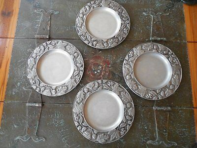 LONGABERGER Set of 4 PEWTER DINNER PLATES 2001 FALLING LEAVES Rare & Retired