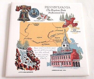 COLLECTIBLE Pennsylvania Keystone State Liberty Bell Tile/Trivet FREE SHIPPING!