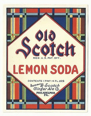 1930's Old Scotch Lemon Soda Label - Philadelphia, PA