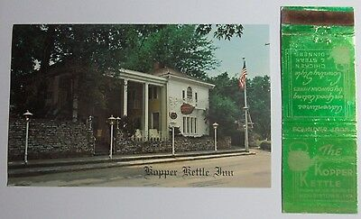1970's Postcard And Matchbook Combo The Kopper Kettle Inn Route 40 Morristown In