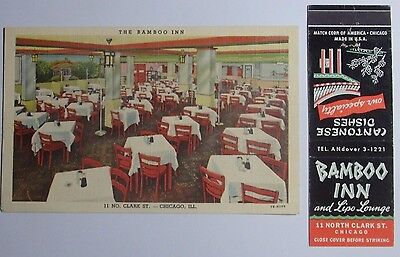 1940's Postcard And Matchbook Combo The Bamboo Inn 11 N Clark St Chicago Ill