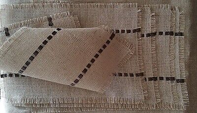 SET of 6 BURLAP PLACEMATS Table mats  Handmade Decor Brown Ribbon