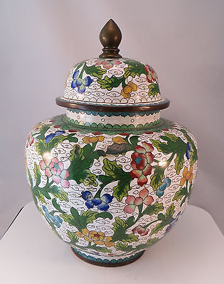 Vintage Large Chinese Cloisonne Lidded Jar Urn Container Flowers China 10 3/4""