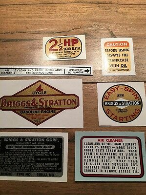 Briggs & Stratton 1961-1963 decal  Aluminum 2-1/2-hp Vertical shaft Set of 7