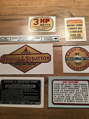 1961 1963 Briggs & Stratton decal  Aluminum 3hp Vertical shaft