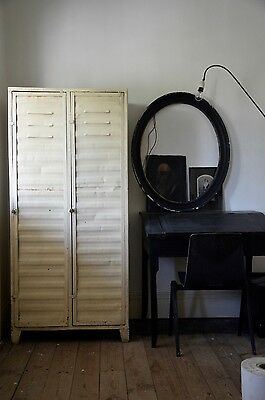 European VINTAGE INDUSTRIAL Metal Two Door Cabinet with hanging rods and shelves
