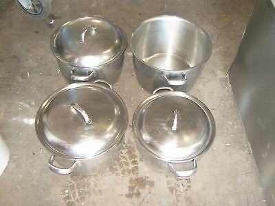 4 x stainless steel induction stock / cook pots