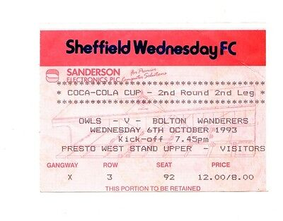 1993-1994 Sheffield Wednesday v Bolton Coca Cola Cup Ticket   POST FREE